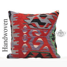 "Tribal Decorative Large Pillow Cover 20x20"" Anatolian Geometric Kilim Pillowcase"