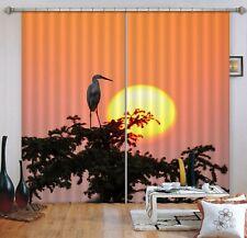 3D Sunset Crane ZHUA068 Animal Blockout Photo Curtain Fabric Window Zoe