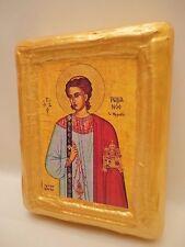 Saint Roman Agios Romanos Byzantine Greek Orthodox Icon on Natural Pine Wood