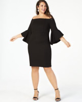 NWT Teeze Me Social Off The Shoulder Women's Dress Cocktail Party 24W Black $69