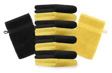 Betz Set di 10 guanti da bagno Premium misure 16 x 21 cm 100% cotone giallo e ne