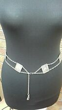 Silver Tone metal hipster belt egyptian heiroglyphics