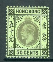 China 1912 Hong Kong 50¢ KGV Chalky Paper Wmk MCCA Scott #119a Mint Z515