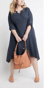 NEW Ryllace $168 Luxury Vintage Look Market Day Dress Denim Blue Plus Sz 22 NWT