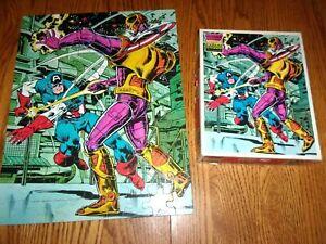"""Vintage 1981 CAPTAIN AMERICA 100 Large Piece Jigsaw Puzzle 14"""" X 18"""" Complete"""