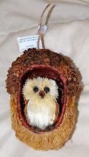 Owl In Acorn Ornament, Large, New, Natural, Sisal
