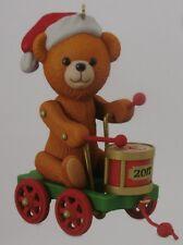 Hallmark 2017 Santa Certified Ornament - Bear playing drum in wagon - New in Box