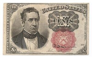 FR#1265 5th Issue 10 Ct William Meredith Short Key Red Seal Unc Fractional Curre