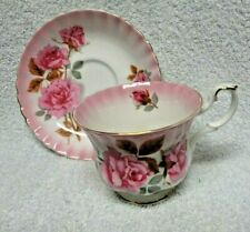 Royal Albert Radiance series Pink Roses Pink Wash   Cup and Saucer