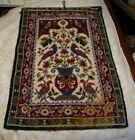 Vintage German Hooked Colorful Floral, Birds, Urn Handwoven Wool Rug Hanging