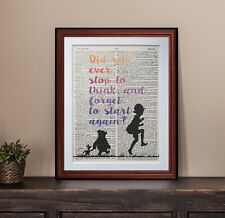 Winnie the Pooh A A Milne quote dictionary page art print reading books