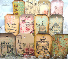 24 unstrung Vintage/shabby chic | wedding wish tree tags labels Paris Love Gift