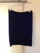 Fate 'Kloe' Black and Blue Stripe Skirt Size 14