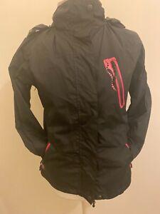 Backswing Ladies Waterproof Jacket Coat Detachable Hood - Black / Pink - Size 8