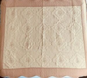 Hometex Cludia floral quilted throw blanket wall hanging pocket gold 50x60 NWOT