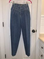 Vintage 80s Braxton High Waist Tapered Leg Pleated Mom Jeans Junior Size 3