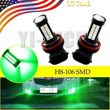 2x Super Green H11 H8 Auto LED Bulbs For Car Truck Fog Lights Lamp 106SMD
