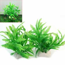 2x Pianta Artificiale Verde Plastica Acquario Decorazione Ornamento Subacquea