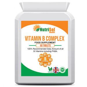 Vitamin B Complex 100% NRV 60 Tablets Immune Health, Reduce Tiredness, Fatigue,