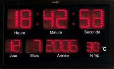Horloge murale radio-pilotée à LED rouges - Lunartec