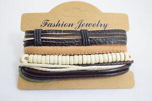 Unisex Bracelet Retro Leather Charm Beads Vintage Multiwrap Bracelet boho style
