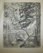 P.G. JEANNIOT - Lac du BOIS DE BOULOGNE - Gravure à l'eau-forte SIGNEE - PAYSAGE