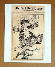 1968 Detroit Tigers World Series MVP Mickey Lolich  SIGNED comic strip