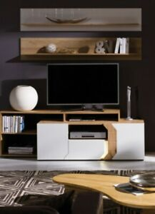 TV Cabinet/Unit-LED lighting. White Gloss/Lancelot colour. L4. LOFT. BRAND NEW.