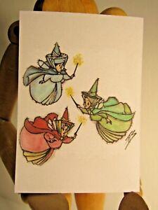 Three Good Fairies ACEO Print Card By Phil Born  SLEEPING BEAUTY watercolor