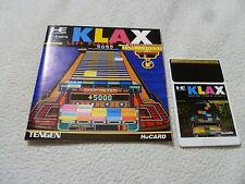 JAPANESE IMPORT PC ENGINE HU CARD GAME KLAX W MANUAL HE SYSTEM TENGEN ATARI  >>