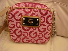 NWT GUESS PURSE PINK FABRIC CROSS BODY BAG TAN LEATHER DARENA MINI SILVER LOGO