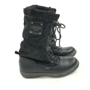 Coach Snow Winter Boots Mid Calf  Black Signature Lace Up