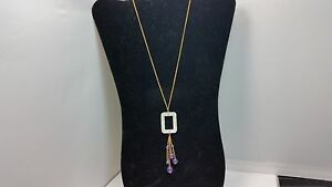Genuine Carved Mother of Pearl, Amethyst & Iolite Buckle 14kt 1/20 GF Necklace