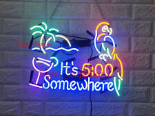 """New It's 5:00 Somewhere Parrot Palm Tree Acrylic Beer Light Neon Light Sign 24"""""""