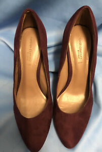 Next Size 6.5/40 Burgundy Suede Closed Almond Toe Stiletto Shoes