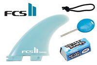 FCS 2 II MEDIUM Carver Glass Flex Thruster Set, Leash String, Fin Key, & Wax