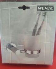 Wenko Zahnputzbecherhalter UNO  Zahnbürstenhalter Glas Messing  Becher