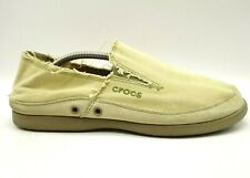 Crocs Logo Brown Distressed Edge Leather Canvas Casual Loafers Shoes Men's 11