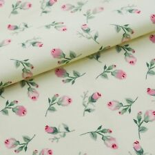 100% Cotton Rosebud Fabric, Sewing, Craft, Quilting, Cream, Vintage Style, Metre