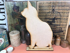WOODEN CAT FREESTANDING SHAPE 30cm Stand Table Decoration Wood Blackboard