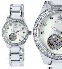 Damen Automatik Armbanduhr Weiss/Perlmutt Keramik CA2206WH Enna II von CARUCCI