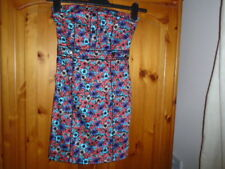 Cute orange, turquoise and purple strapless mini dress, H&M (DIVIDED), size 6