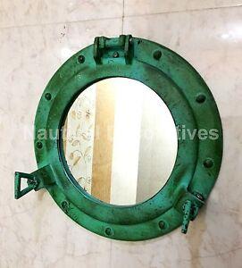 """11"""" Porthole Mirror Antique Green Ship Porthole ~Nautical Decor Wall Hanging"""
