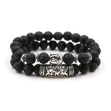 2Pcs Men Women Beaded 8mm Natural Lava Stone Buddha Head Bracelets Jewelry Gift
