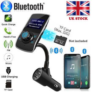 Wireless Bluetooth Car Kit FM Transmitter MP3 USB LCD Handsfree For Mobiles UK