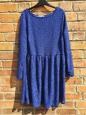 South Lace Sleeve 18 Dress Cobalt Blue Crochet Skater Flare Shop Look Wedding