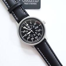 Aristo 3H80, Fliegeruhr, Edelstahl, sandgestraht, Lederband schwarz,Quarz, Datum