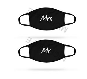 Dual Layer Cotton Unisex Breathable Printed Cute Novelty Gift Mr & Mrs Face Mask
