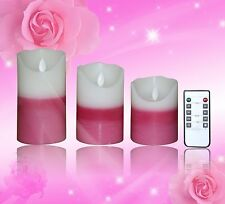 Ivory Wax Moving Wick Flameless Candle Fireless Pillar Timer Remote Set of 3 LED