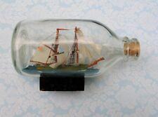 Souvenir Ship in a Bottle Sailing Schooner Boat w Cork - Nautical Decor Collecti